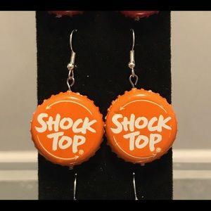Shock top bottle cap earrings!